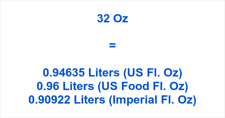 32 Oz to Liters